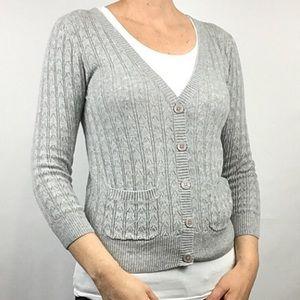 Tildon Gray Cardigan Sweater Size M Cotton